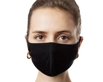 3 Pack Solid Black Face Masks; Washable, Reusable