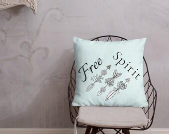 Free Spirit, Light Blue, Premium Throw Pillow
