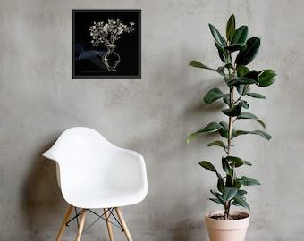 Black, Flower Vase Framed Art Print
