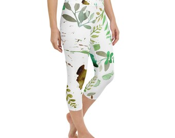 Leaves, Nature Inspired Print, Yoga Capri Leggings