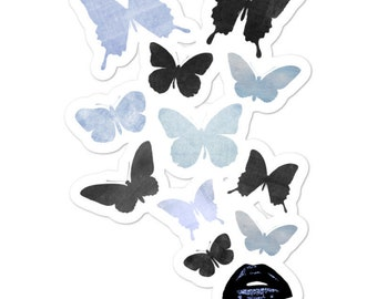Butterflies and Lips Vinyl Sticker
