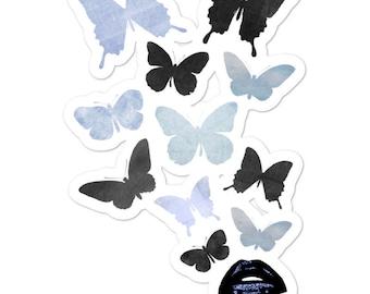 Butterflies and Lips Vinyl Sticker