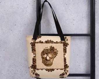 Sepia Floral Skull Tote Bag