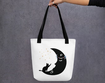 Black Moon & Black Cat Celestial Tote Bag