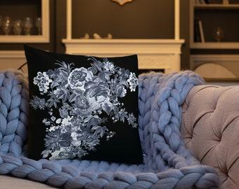 Blue Flower Bouquet Throw Pillow