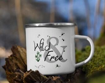 Wild & Free Enamel Camping Mug