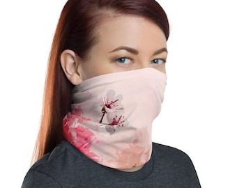 Pink Flowers, Non Medical Face Cover; Washable and Reusable