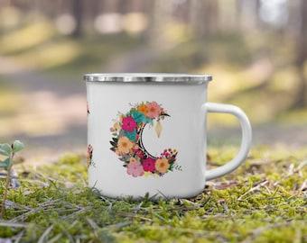 Floral Half Moon Enamel Camping Mug