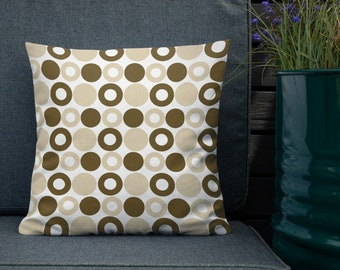 Brown & Tan Circles Throw Pillow