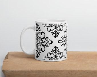 Black & White Damask Ceramic Mug