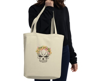 Floral Skull Organic Cotton Tote Bag