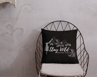 Stay Wild Moon Child Throw Pillow (Black)