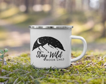 White & Black, Stay Wild Moon Child Enamel Camping Mug