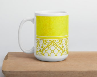 Lemon Yellow Damask Mug