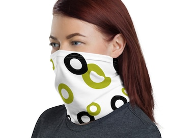 Green and Black Circles, Non Medical Face Cover; Reusable and Washable