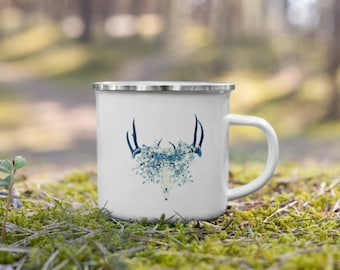 Blue Floral Deer Skull Enamel Coffee Mug