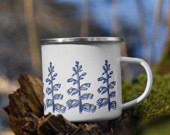 Blue & Black Double Exposure Flowers Enamel Mug