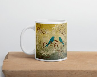 Blue Love Birds Mug