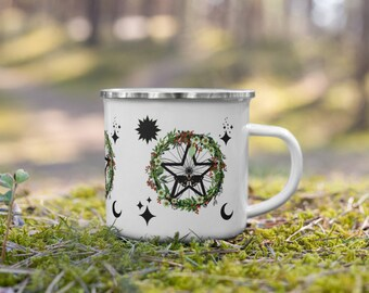 Celestial Witch Wreath Enamel Camping Mug