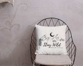Stay Wild Moon Child Throw Pillow (White)
