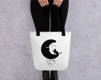 Pink Hearts, Black Moon & Black Cat Tote Bag