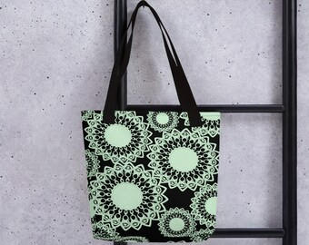 Mint Green and Black Doilies Tote Bag