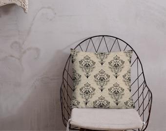 Victorian Damask Throw Pillow