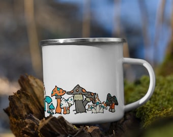 Colorful Shrooms Enamel Camping Mugs