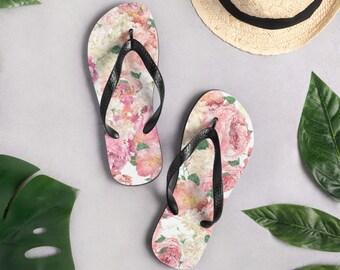 Pink Floral Flip-Flops