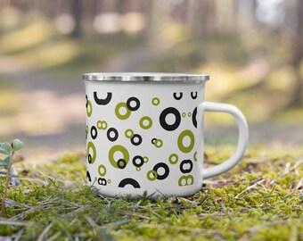 Green & Black Circles Enamel Camping Mug