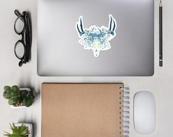 Blue Floral Deer Skull Sticker