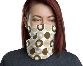 Brown Dots, Tan Circles, Non Medical Face Cover; Reusable and Washable