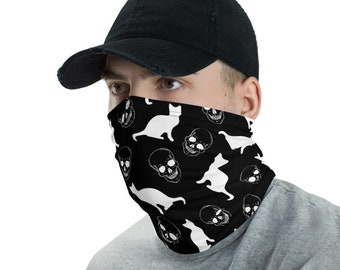 Skulls & Cats, Black and White, Face Cover; Reusable and Washable