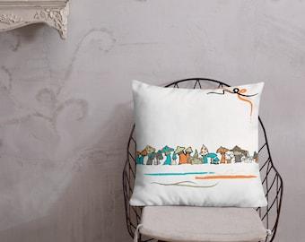 Colorful Magic Mushrooms Throw Pillow