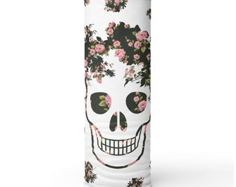 Pink Flowers and Skull, Non Medical Face Cover; Washable and Reusable