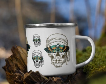 Death Moth, Pirate Skulls Enamel Camping Mug