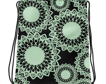 Mint Green & Black Doilies Drawstring Bag