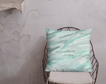 Green and White Jade Premium Throw Pillow