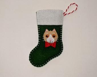 Mini Christmas Stocking, Stocking Ornament, Stocking with Cat, Kitten Stocking, Cat Kitten Lover Stocking Decor, Pampered Pet Sock Ornament