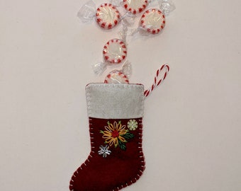 Mini Christmas Stocking, Stocking Ornament, Stocking with Flowers, Flower Stocking, Christmas Stocking Decor, Embroidered Sock Ornament