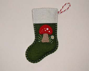 Mini Christmas Stocking, Stocking Ornament, Stocking with Toadstool, Mushroom Stocking, Christmas Stocking Decor, Woodland Sock Ornament
