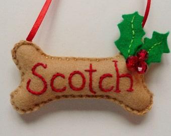 Personalized Dog Bone Felt Ornament / Christmas Ornament / Winter Decor / Dog Bone Decoration / Personalized Pet Ornament