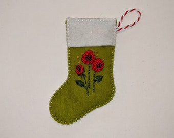 Mini Christmas Stocking, Stocking Ornament, Stocking with Roses, Stocking with Flowers, Christmas Stocking Decor, Flowered Sock Ornament