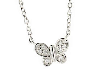 5fc9d12400f8e4 Sterling Silver Butterfly Necklace Cable Chain Small Cubic Zirconia CZ Charm
