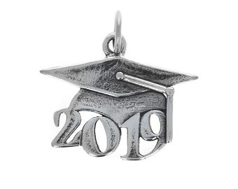 aeedb8d41 2019 Graduation Cap Charm, 925, Sterling Silver Charm with Jump Ring,  Genuine Sterling Silver Charms, Graduate Gifts, 2019 Charms