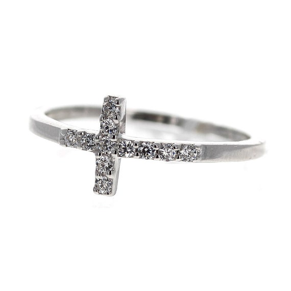 Buy For Less Clear Cubic Zirconia Sideways Cross Plain Ring 925 Sterling Silver