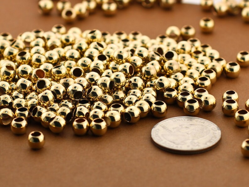 Seamless Balls Large Hole 6mm Gold Beads Large 3mm Hole Wholesale Lot Gold Filled Medium Seamless Beads Plain Polished Spacers 30pc