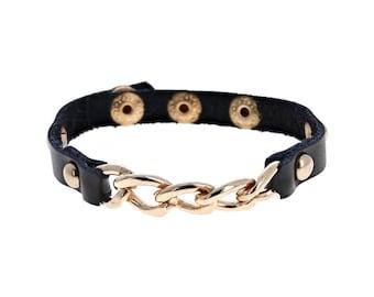 Simple Chain Leather Bracelet