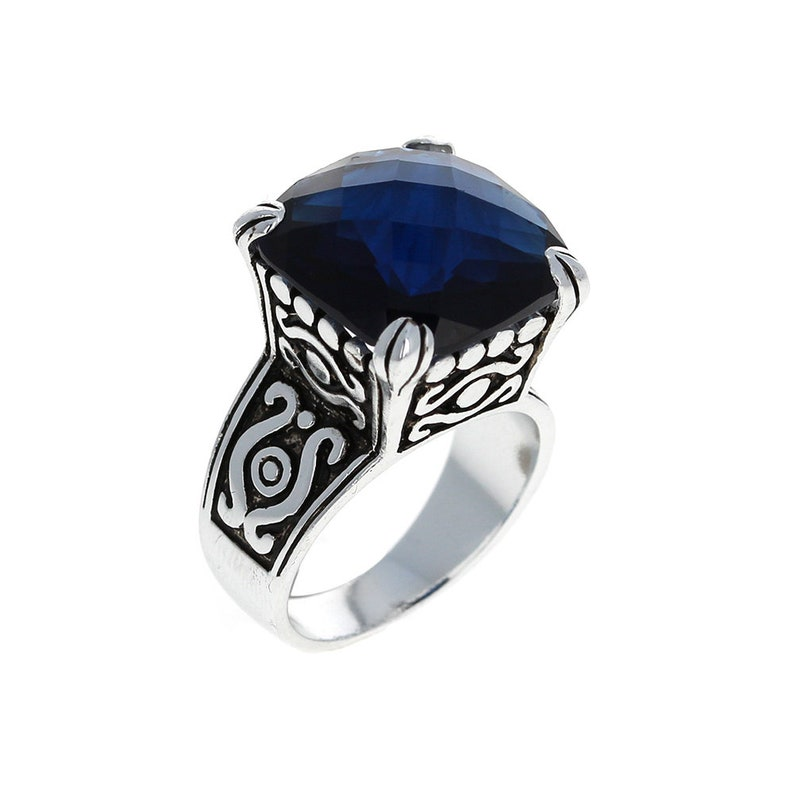 Sterling Silver Large Sapphire Victorian Ring CZ Ring 925