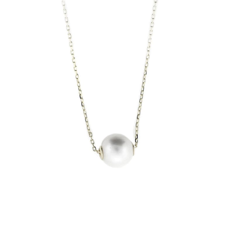 Simple Pearl Necklace Sterling Silver Cable Chain Adjustable 16 inches